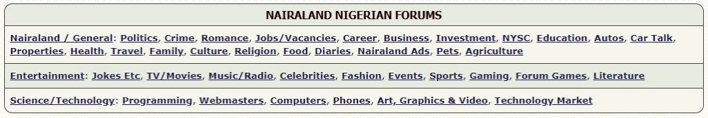 nairaland forum sections